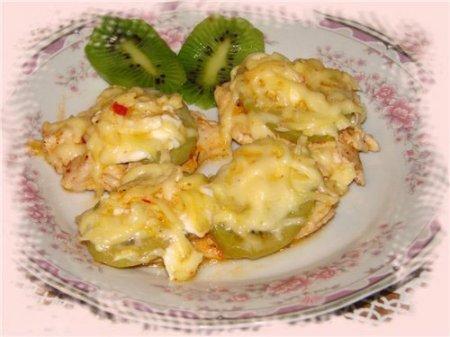 Курица с киви под сыром