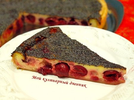 Слоеный пирог с вишней и маком