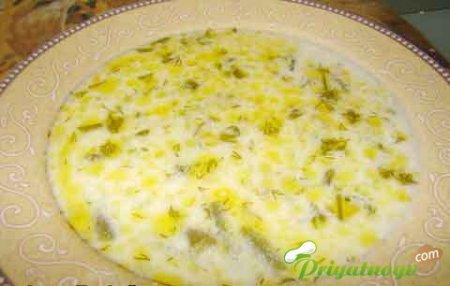 Сырный суп со стручковой фасолью