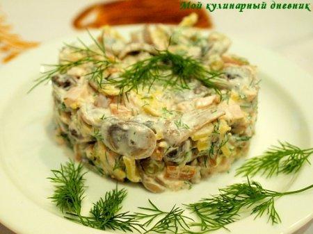 Салат с копченым куриным филе и шампиньонами