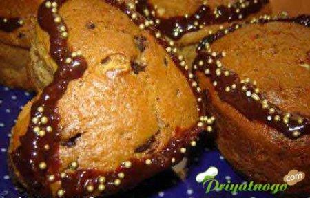 Кофейные кексы с зефиром и орехами