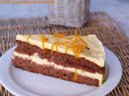 Орехово-медовый торт с апельсиновым кремом