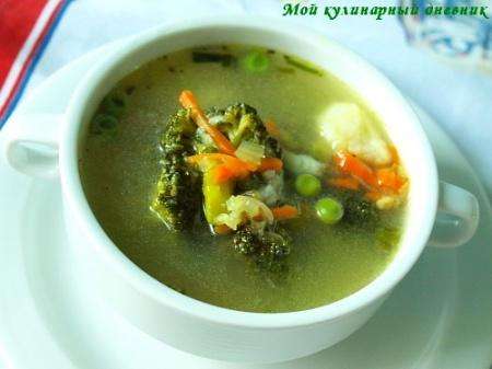 Овощной суп с манными клецками