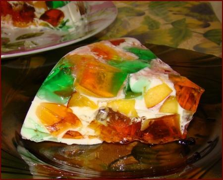 Желейный торт с персиками