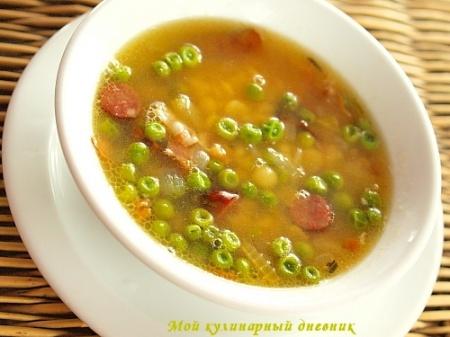 Суп из 2-х видов гороха с копченостями