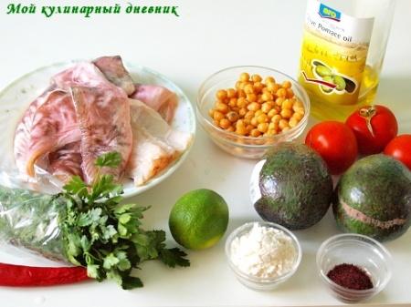 Креветочная рыба с сальсой из авокадо и нута