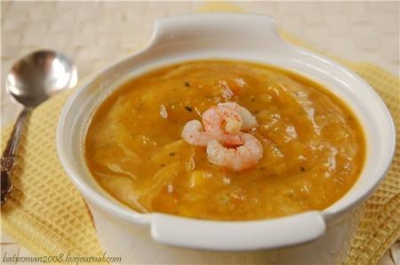 Суп из тыквы с морепродуктами