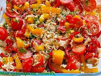 Овощи, запеченные с беконом