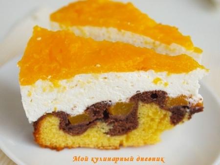 Персиковый торт с творожным кремом и шоколадной прослойкой