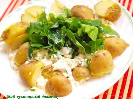 Отварной картофель с творожным соусом