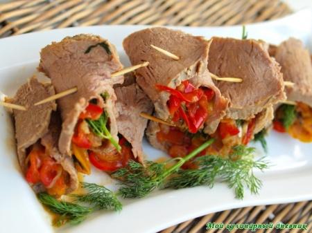 Рулеты из говядины с маринованным перцем