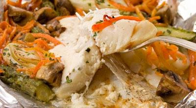 Рыба с грибами и овощами в фольге