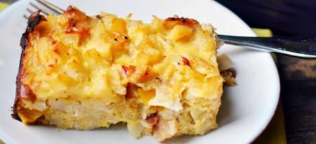 Картофельная запеканка с яйцами и беконом