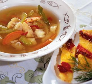 Рыбный суп с полентой