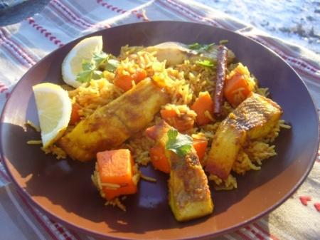 Рыба с тыквой и острым рисом