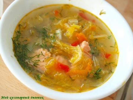 Овощной суп с семгой и треской