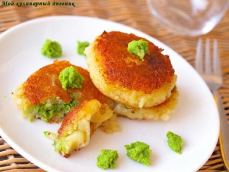 Картофельные котлетки с зеленым горошком
