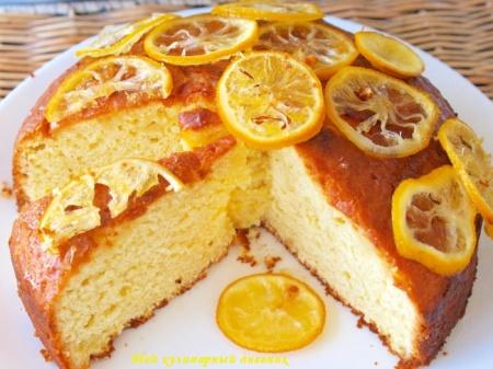 Лимонно-йогуртовый пирог с сиропом