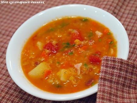 Суп из чечевицы с беконом на пиве
