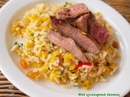Баранина и пряный рис с чечевицей