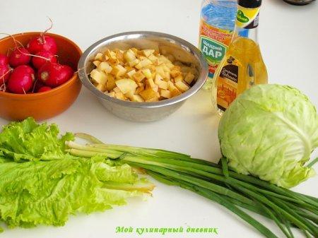 Весенний салат с молодыми овощами