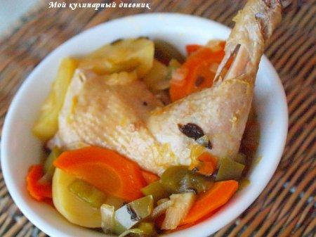 Курица с овощами, тушеная в пиве