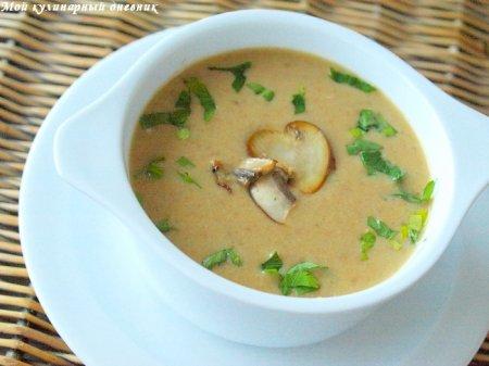 Суп-пюре из шампиньонов и белых грибов