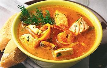 Суп с раками и севрюгой
