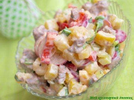 Салат с редиской, картошкой и мясом