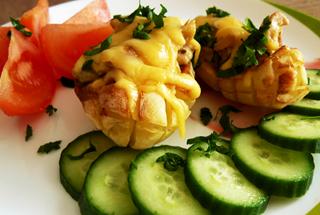 Лапти из картофеля с грибочками и баклажанами