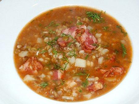 Суп с копчеными ребрами