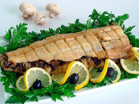 Филе рыбы с рисом и грибами