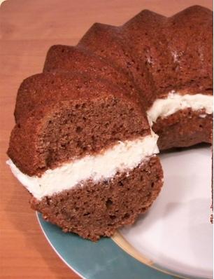 Шоколадный кекс с творожным кремом