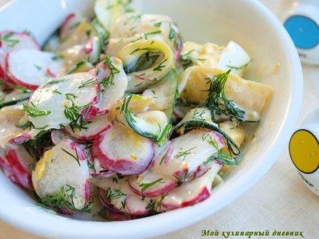 Яичный салат с редиской и цуккини
