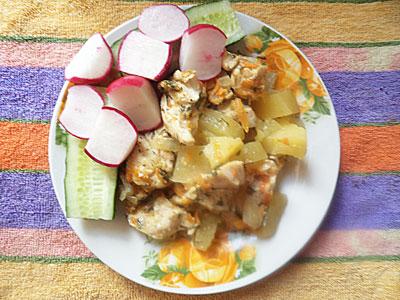 Курица с картофелем в пароварке