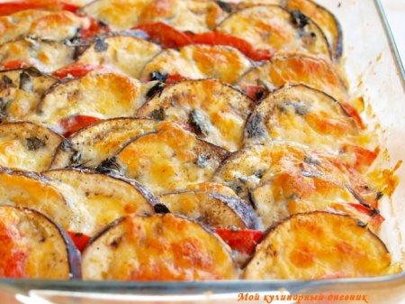Запеканка из помидор и баклажан с моцареллой