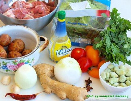 Баранина по-магрибски с зелеными бобами и картошкой