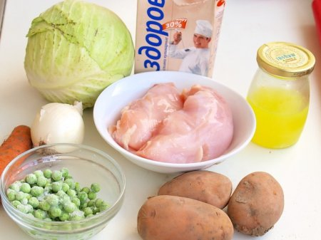 Суп с капустой и куриными клецками