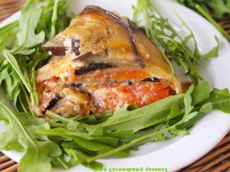 Овощной торт с помидорами и баклажанами