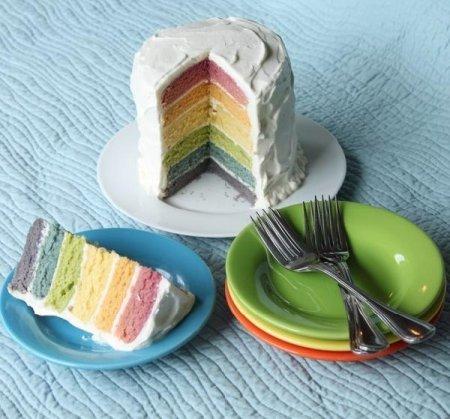 Торт «Радуга» с натуральными красителями