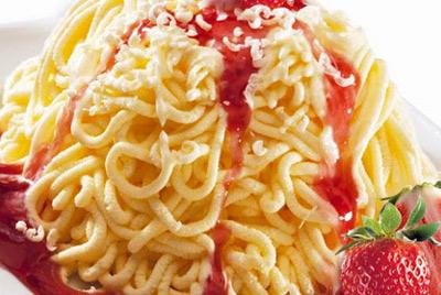 Мороженое в виде спагетти