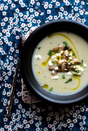 Картофельный суп с грибами и сыром