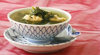 Суп рыбный со шпинатом