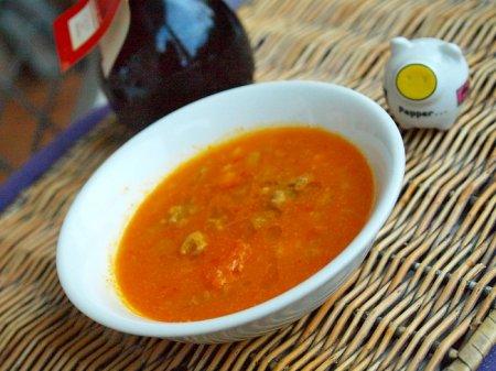 Тыквенный суп с шариками из мяса и брынзы