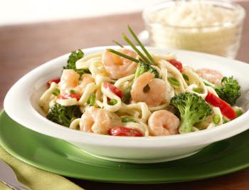 Сливочный соус с морепродуктами и брокколи