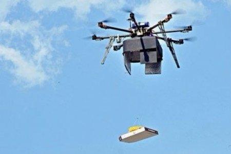 Пиццу доставят летающие роботы