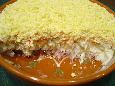 Салат «Мимоза» с плавленым сыром