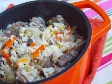 Рис с говядиной и грибами