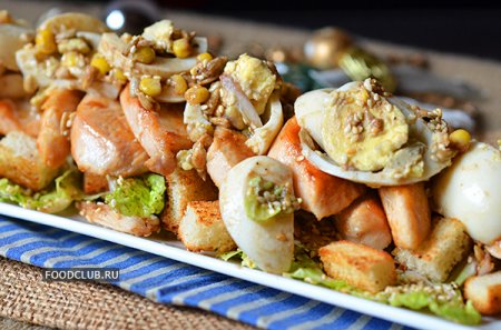 Куриный салат с яйцом