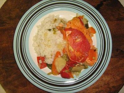 Семга в духовке с овощами